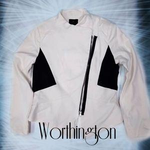 Worthington black and white zip up blazer